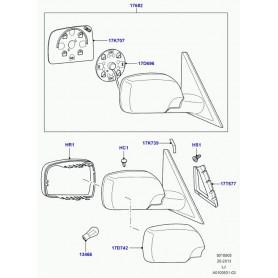 Glace de retroviseur gauche range rover l322