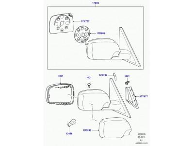 Glace de retroviseur gauche plat range rover l322