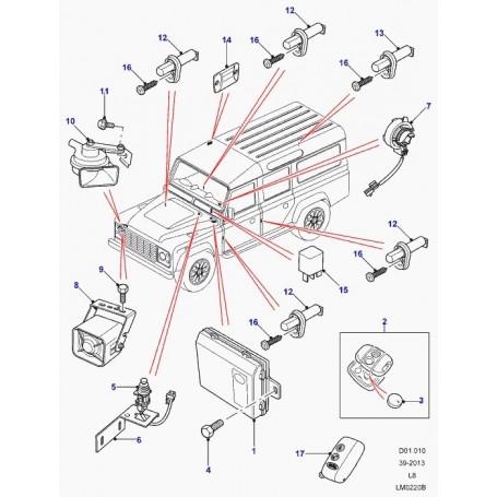 Contacteur ouverture de capot / alarme - land rover