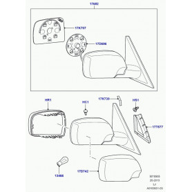 Glace de retroviseur droit range rover l322