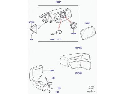 Glace de retroviseur exterieur droit convexe Range Rover L322