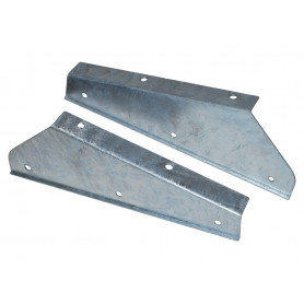 Pair of galv front mudflap brackets defender