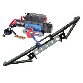 Pare choc tubulaire porte treuil et treuil 5t4 cable acier